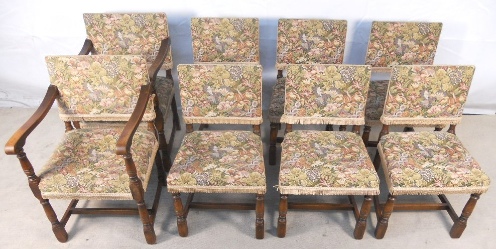 - Set Of Eight Tudor Style Oak Framed Upholstered Dining Chairs - SOLD